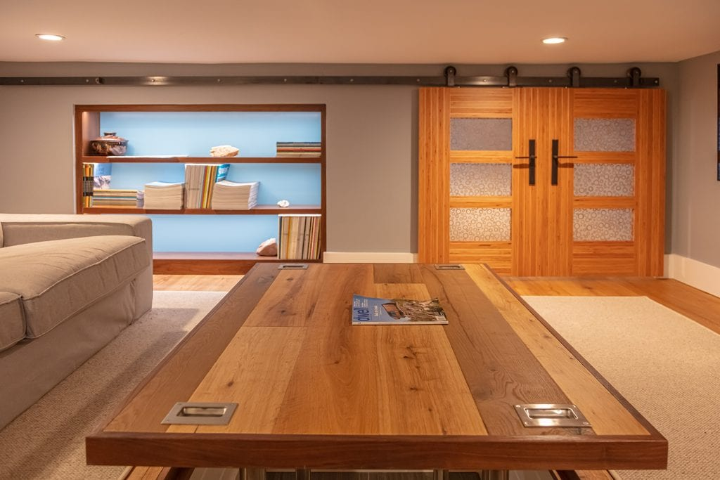 Custom Shelving & Door, built-in Custom Table