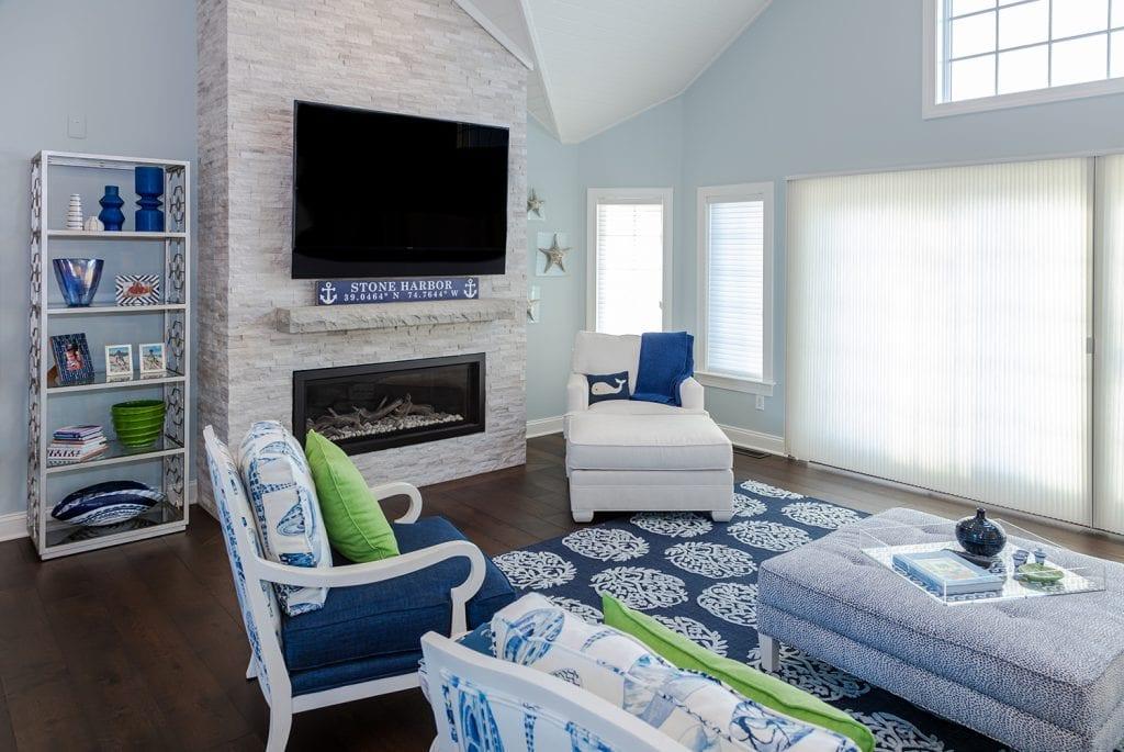 Living Room Custom Stone Fireplace