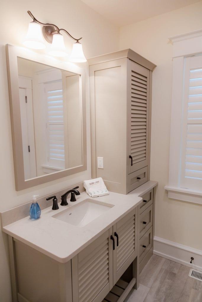 Sand Built-in Linen Closet & Shutter style Cabinets