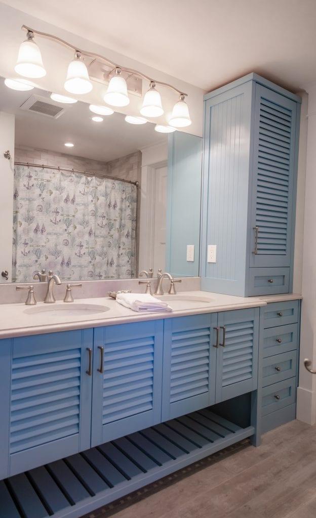 Sky Blue Built-in Cabinets & Linen Closet