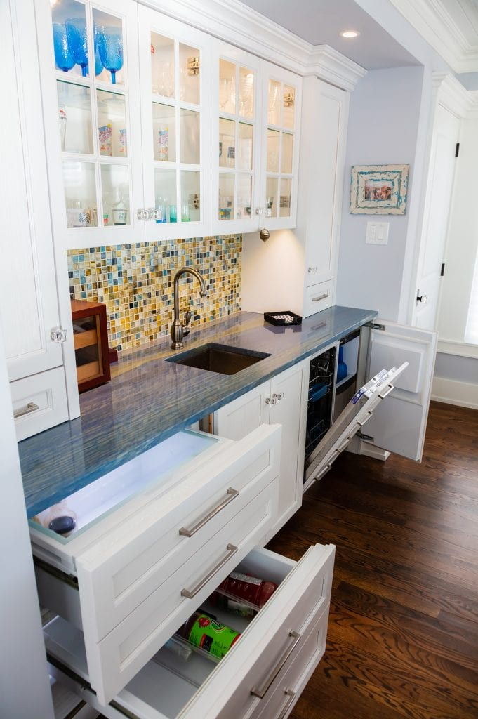Pull-out Cold Drawers in Wet Bar