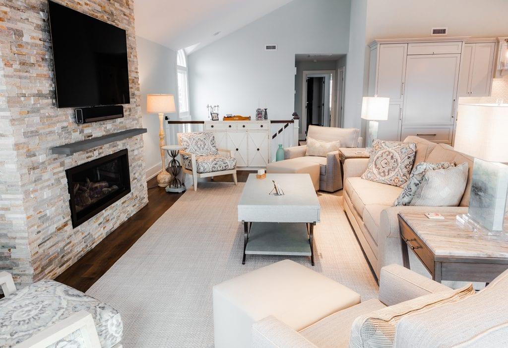 Custom Tiled Fireplace Living Room