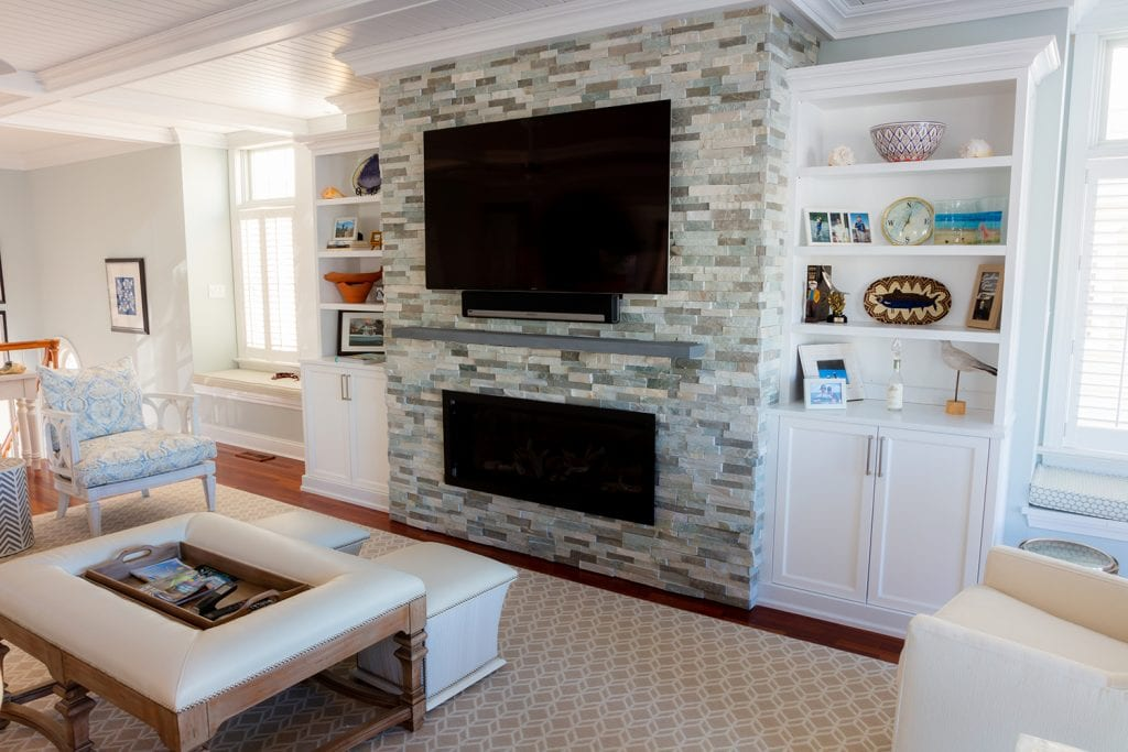 Tile Fireplace/TV/Custom Shelving