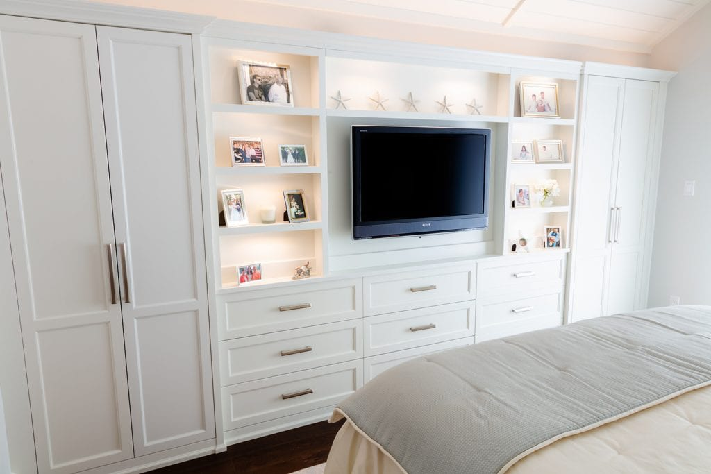 White Lighted Bedroom Cabinet